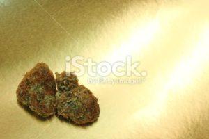 Pink Tahoe OG marijuana against a gold background